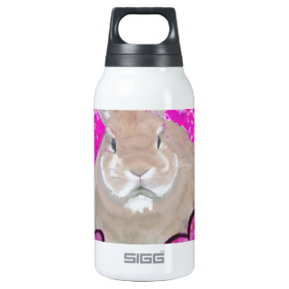 Rabbit and love hearts insulated water bottle