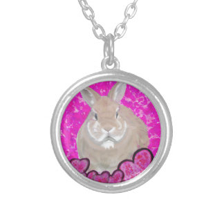 Rabbit and love hearts personalized necklace