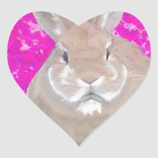 Rabbit and love hearts heart stickers