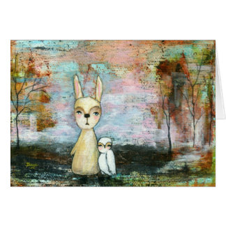 Rabbit and Owl Whimsical Woodland Creatures Greeting Card