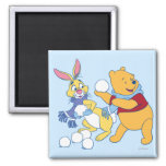Rabbit and Pooh 2 Inch Square Magnet