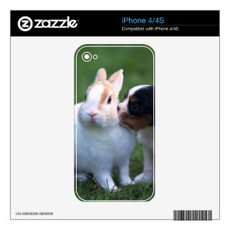Rabbit and Puppy Zazzle Skin Skin For iPhone 4S