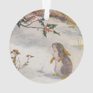 Rabbit and Robin Vintage Image Ornament