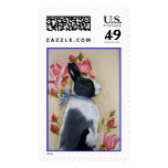Rabbit and Roses Postage Stamp