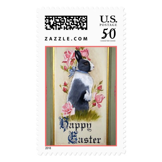 Rabbit and Roses stamp