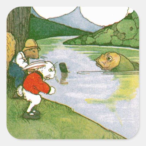 Rabbit and Squirrel Meet Pickerel Sticker