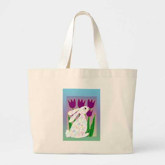 Rabbit and Tulips Large Tote Bag