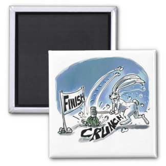 rabbit and turtle race funny cartoon magnet