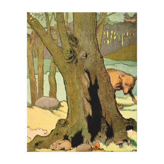 Rabbit and Wolf in the Dark Forest Stretched Canvas Print