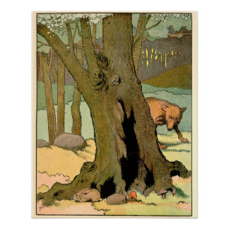 Rabbit and Wolf in the Forest Perfect Poster