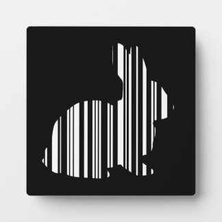 RABBIT BAR CODE Bunny Hare Barcode Pattern Plaque