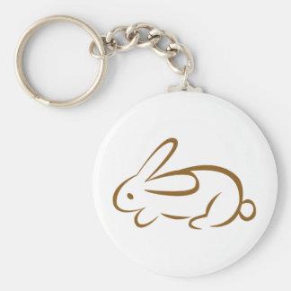 rabbit basic round button keychain