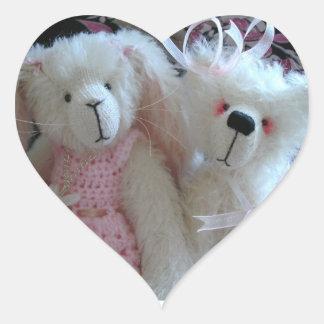 Rabbit & bear heart sticker
