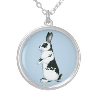 Rabbit:  Black and White Silver Plated Necklace