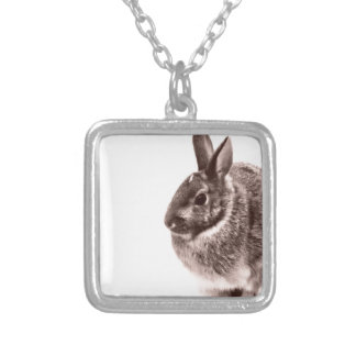 Rabbit  Black and white Silver Plated Necklace