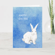 Rabbit Blue Easter Card