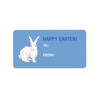 Rabbit blue Easter Gift Tag Label
