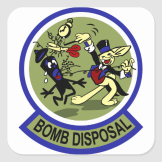 Rabbit Bomb Disposal Square Sticker