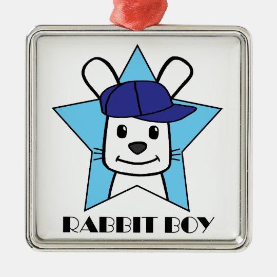 Rabbit Boy Metal Ornament