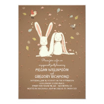 rabbit bunnies couple woodland engagement party invitation