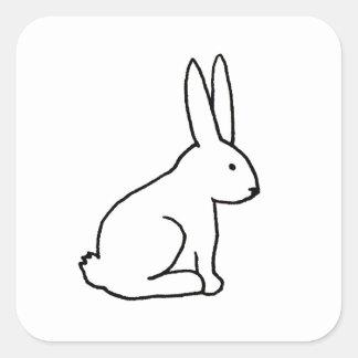 Rabbit bunny fun simple graphic symbol logo art square sticker