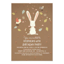 rabbit - bunny woodland birthday party card