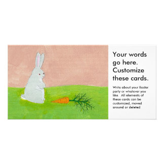 Rabbit carrot fresh modern art colorful painting custom photo card