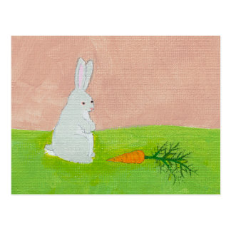 Rabbit carrot fresh modern art colorful painting postcards