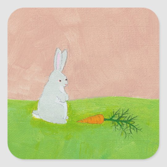 Rabbit carrot fresh modern art colorful painting square sticker