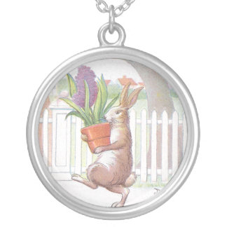 Rabbit Carrying Potted Purple Hyacinth Silver Plated Necklace