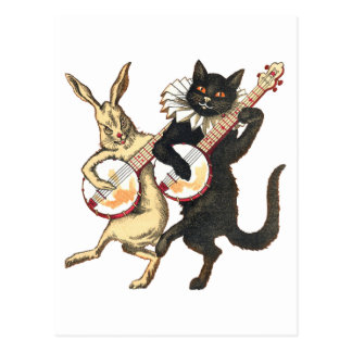 Rabbit & Cat Postcard