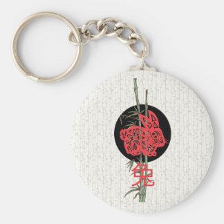 Rabbit (chinese zodiac) basic round button keychain