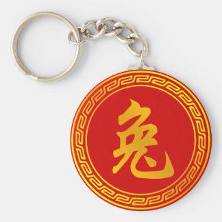 Rabbit Chinese Zodiac Symbol Basic Round Button Keychain