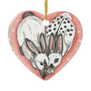 USA Themed Rabbit Christmas Valentine Ornament Memorial Pink