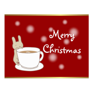 Rabbit & Coffee Red Merry Christmas Postcard