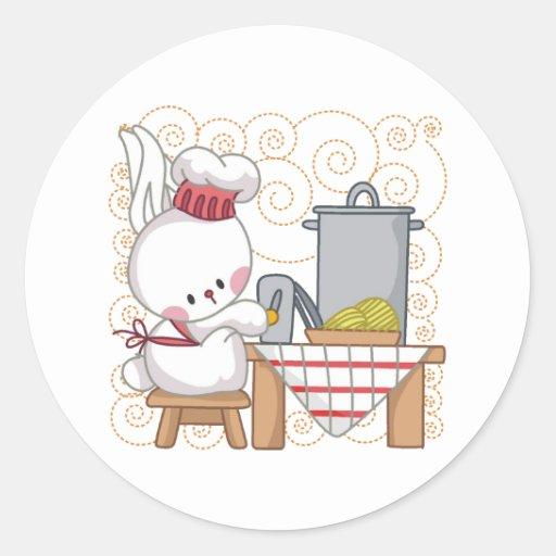 Rabbit Cook Classic Round Sticker