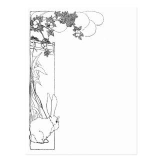 Rabbit, Cornstalks and Orange Tree Postcard