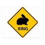 Rabbit Crossing Highway Sign Postcard