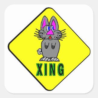 Rabbit Crossing Square Sticker
