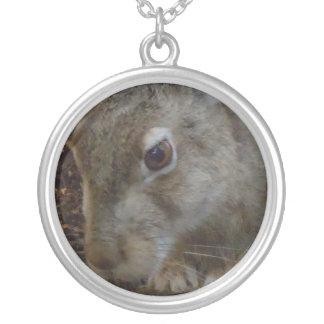 Rabbit Digging Round Pendant Necklace