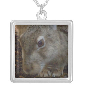 Rabbit Digging Square Pendant Necklace