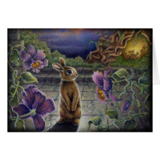 Rabbit Dreams Fantasy Flowers Bunny Greeting Card