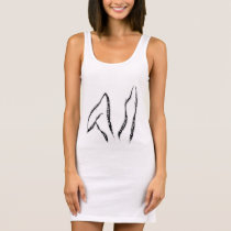Rabbit ears, wyt rbt threads logo sleeveless dress
