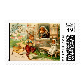 Rabbit Easter Family with Chick Postage Stamp