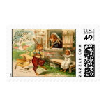 Rabbit Easter Family with Chick Stamp