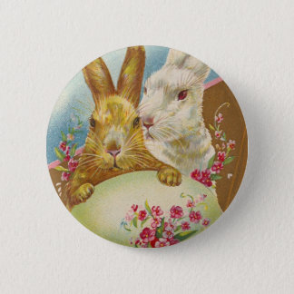 Rabbit Easter Greetings Vintage Button