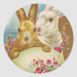 Rabbit Easter Greetings Vintage Classic Round Sticker