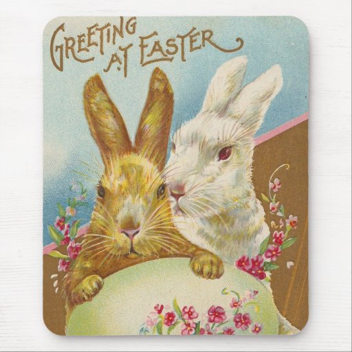 Rabbit Easter Greetings Vintage Mouse Pads