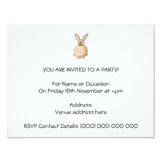 Rabbit Eating a Dandelion. 4.25x5.5 Paper Invitation Card