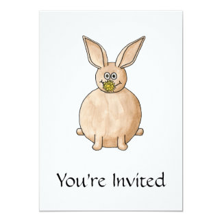 Rabbit Eating a Dandelion. 5x7 Paper Invitation Card